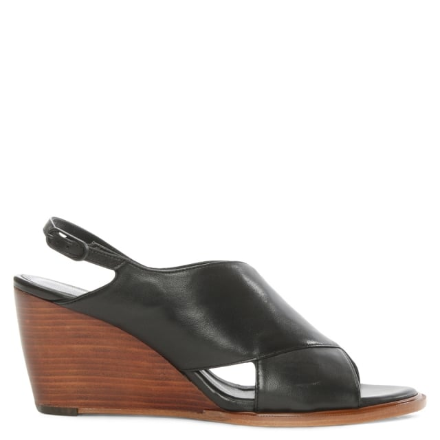 Robert Clergerie Aglenn Black Leather Sling Back Wedge Sandal