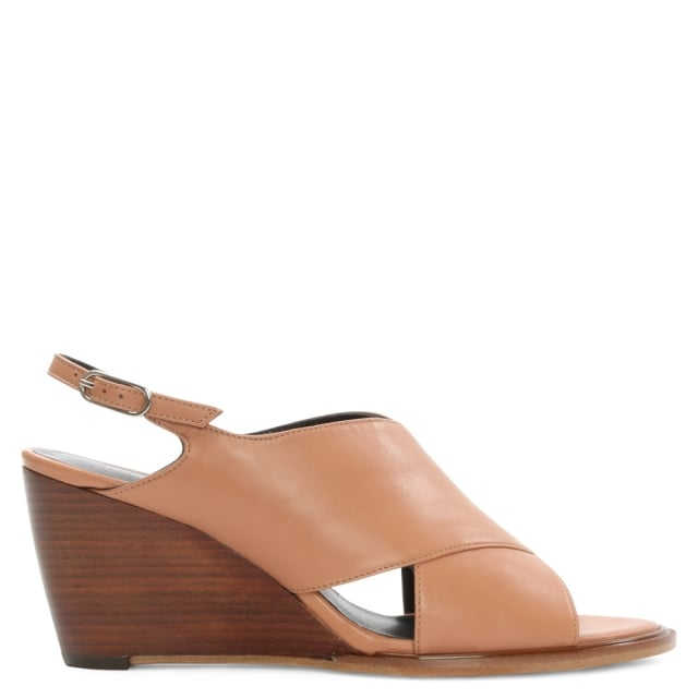Robert Clergerie Aglenn Nude Leather Sling Back Wedge Sandal