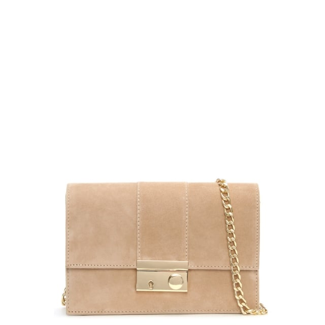 Ahand Beige Suede Push Lock Shoulder Bag