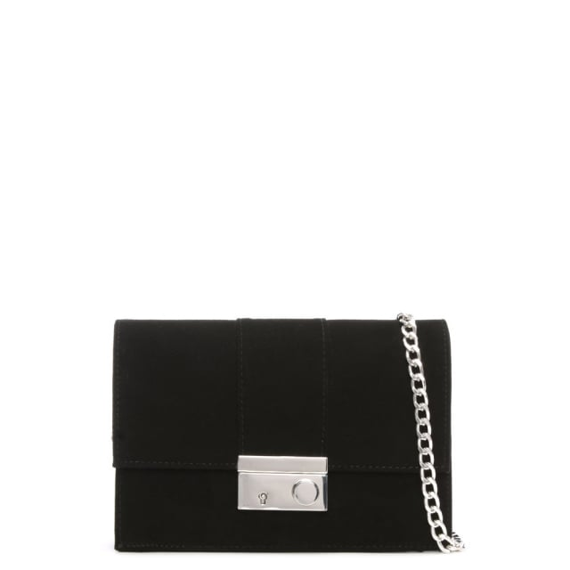 Ahand Black Suede Push Lock Shoulder Bag