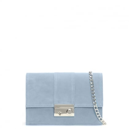 Ahand Blue Suede Push Lock Shoulder Bag