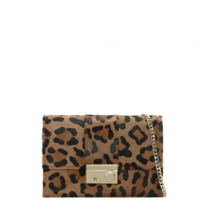 Ahand Leopard Calf Hair Push Lock Shoulder Bag