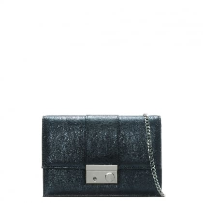Ahand Navy Metallic Leather Push Lock Shoulder Bag