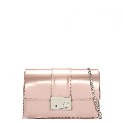 Ahand Pink Patent Leather Push Lock Shoulder Bag