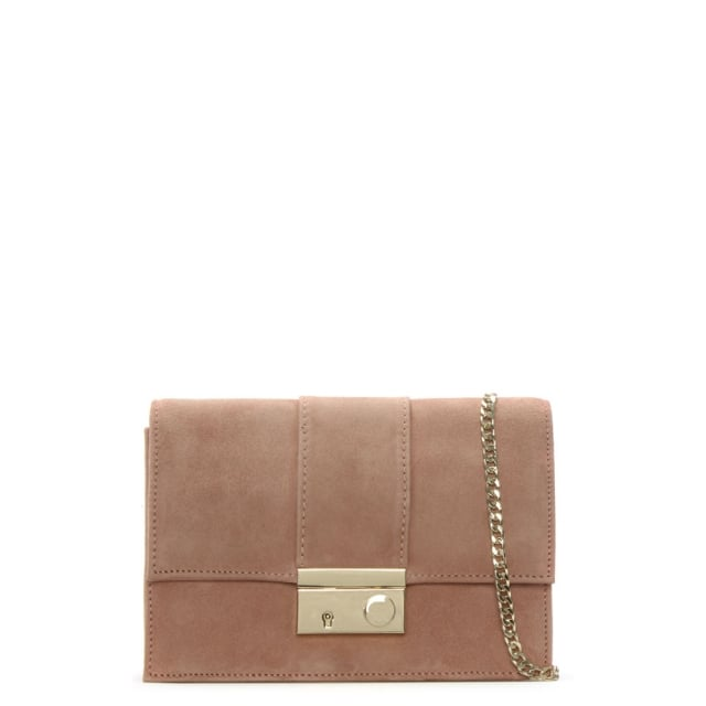 Ahand Pink Suede Push Lock Shoulder Bag