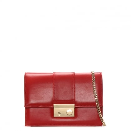 Ahand Red Leather Push Lock Shoulder Bag