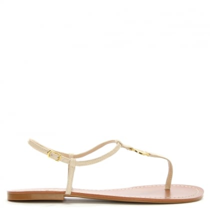 Aimon Toe Beige Reptile Leather Sandals