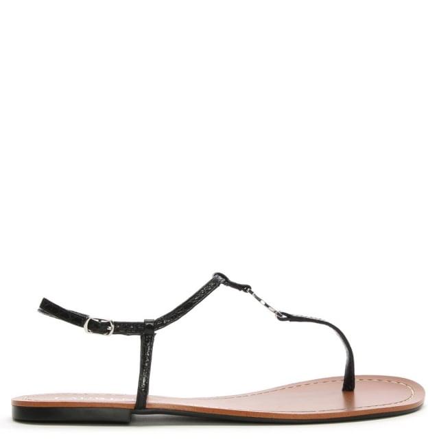Lauren by Ralph Lauren Aimon Toe Black Reptile Leather Sandals