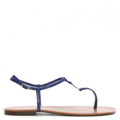 Aimon Toe Blue Reptile Leather Sandals