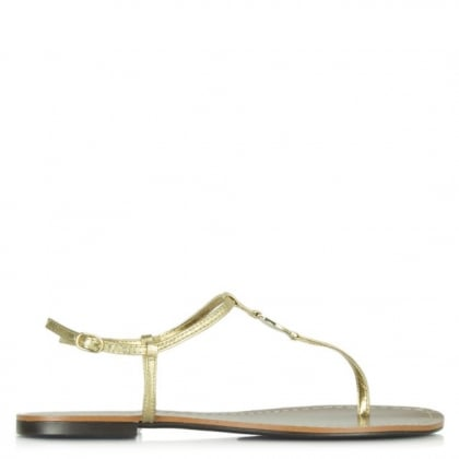 Lauren by Ralph Lauren Aimon Toe Gold Leather Sandal