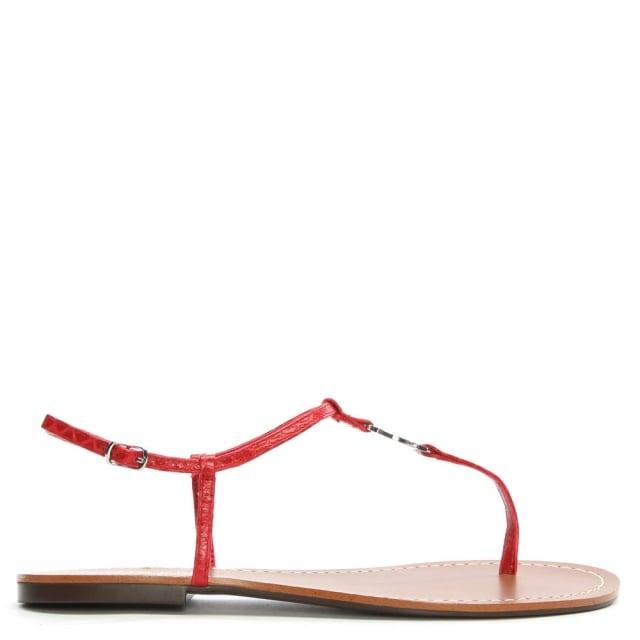 Lauren by Ralph Lauren Aimon Toe Red Reptile Leather Sandals