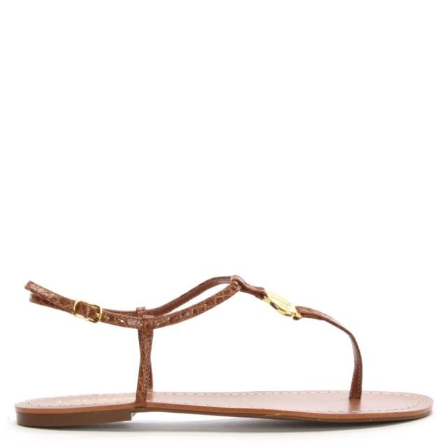 Lauren by Ralph Lauren Aimon Toe Tan Reptile Leather Sandals