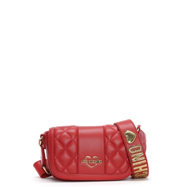35d0fc20cee Love Moschino Akita Small Red Quilted Cross-Body Bag