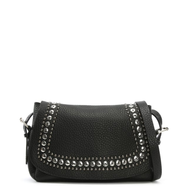 Alassio Black Leather Studded Cross-Body