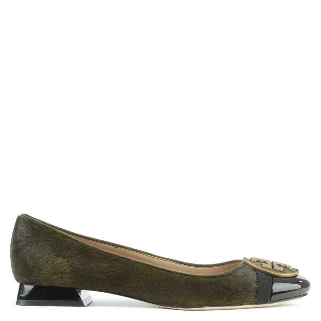 Alastair Green Calf Hair Patent Toe Logo Pump