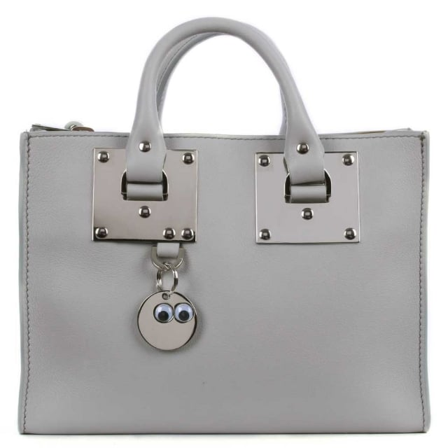 Albion Small Silver Light Grey Leather Square Tote Bag
