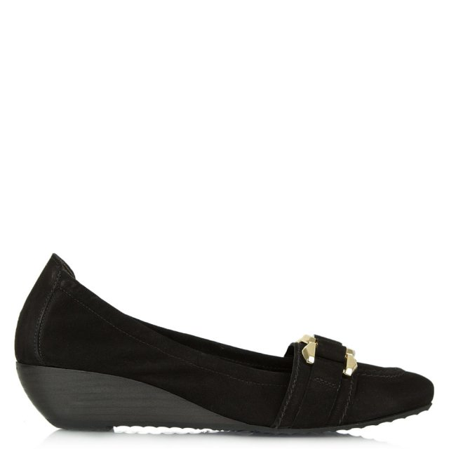 Alcazar Black Suede Low Wedge Pump