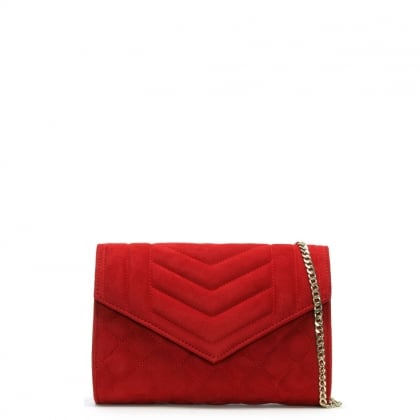 Alcove Red Suede Quilted Clutch Bag