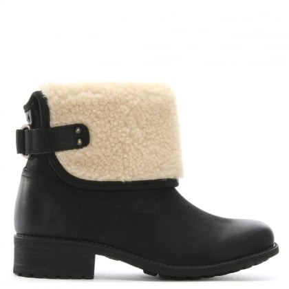 Aldon Black Leather Shearling Cuff Ankle Boots