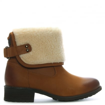 Aldon Chestnut Leather Shearling Cuff Ankle Boots