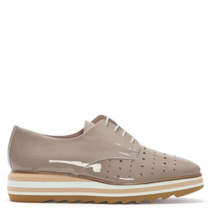 Aledo Taupe Patent Leather Lace Up Loafers