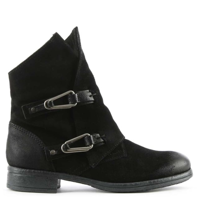 Alera Black Leather Double Buckle Ankle Boot