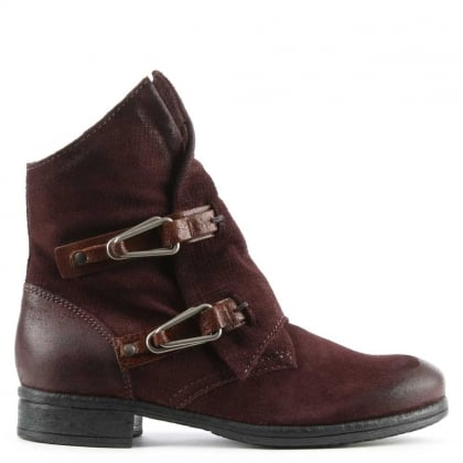 Alera Burgundy Leather Double Buckle Ankle Boot