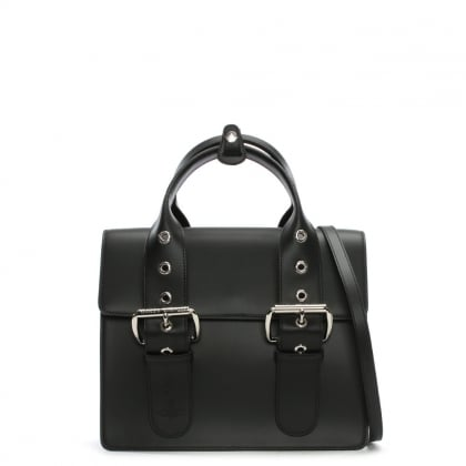 Alex Black Leather Belted II Tote Bag