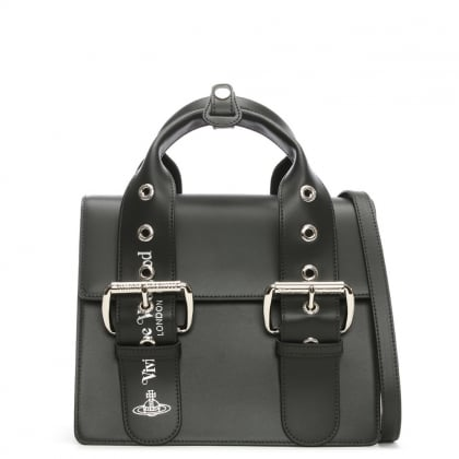Vivienne Westwood Alex Black Leather Belted Tote Bag