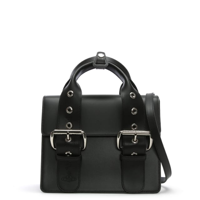 Alex Black Leather Belted Tote Bag