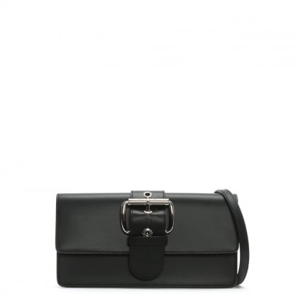 Alex II Black Leather Belted Clutch Bag