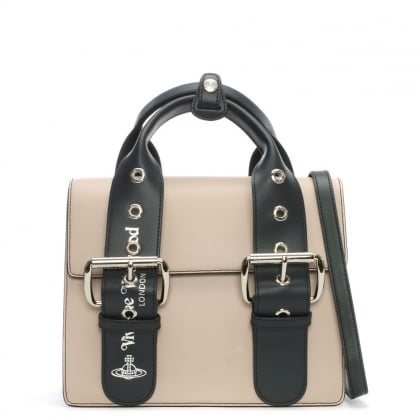 Alex Nude & Black Leather Belted Tote Bag