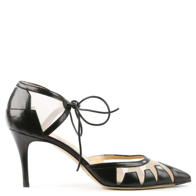 Alexa Black Leather Mesh Insert Ankle Tie Court Shoe