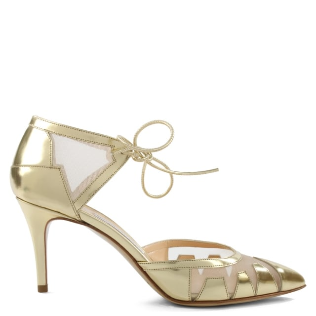 Alexa Gold Leather Mesh Insert Ankle Tie Pump