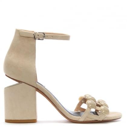 91ffb8255247 Alexander Wang Abby Beige Suede Dome Studded Block Heel Sandals
