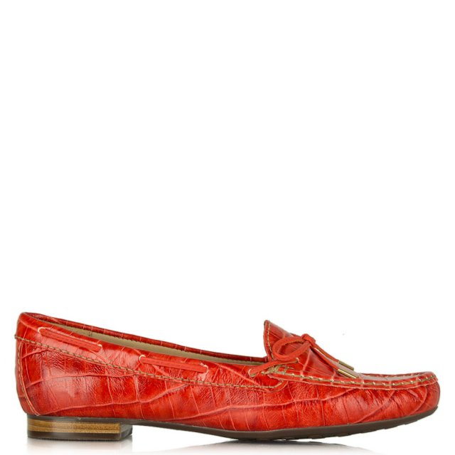 Alexandria Red Leather Reptile Driving Loafer