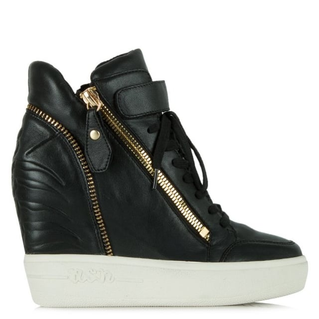 Alfa Black Leather Wedge High Top Trainer