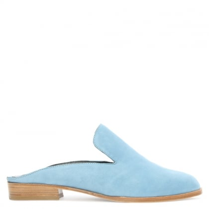 Alicem Blue Suede Backless Mule