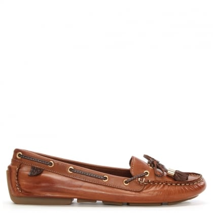 Alivia Tan Leather Moccasin