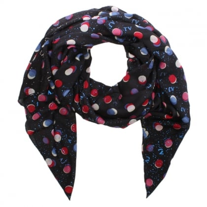 All Over Dotty Print Navy Scarf