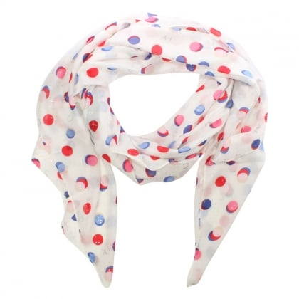 All Over Dotty Print White Scarf