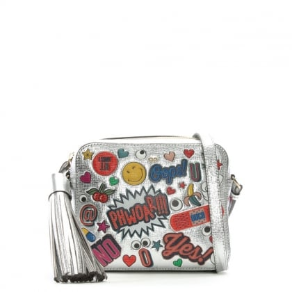All Over Wink Stickers Silver Metallic Leather Cross-Body Bag
