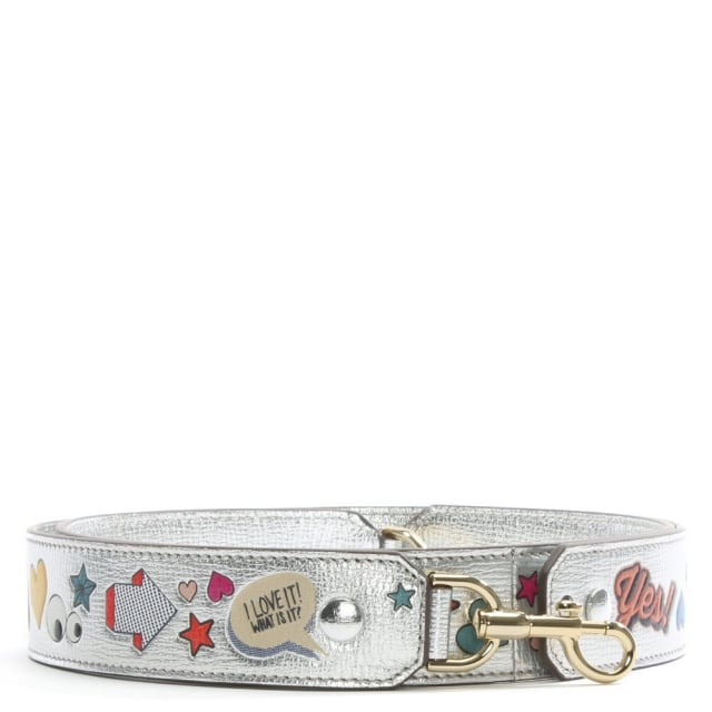 All Over Wink Stickers Silver Metallic Leather Strap