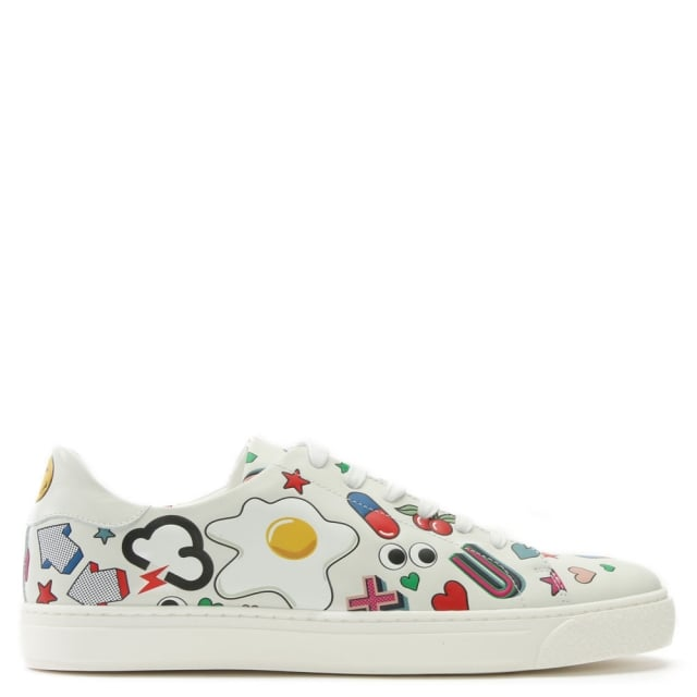 All Over Wink White Leather Lace Up Tennis Trainers