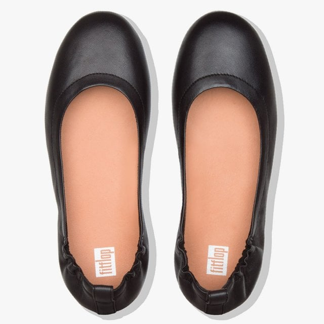72f5a97d5 FitFlop Allergro Black Leather Ballerina Pumps