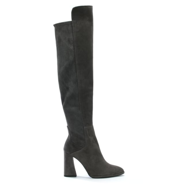 Stuart Weitzman Allhyped Grey Suede Over The Knee Boots