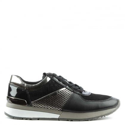 Allie Black Suede & Leather Metallic Sporty Trainer