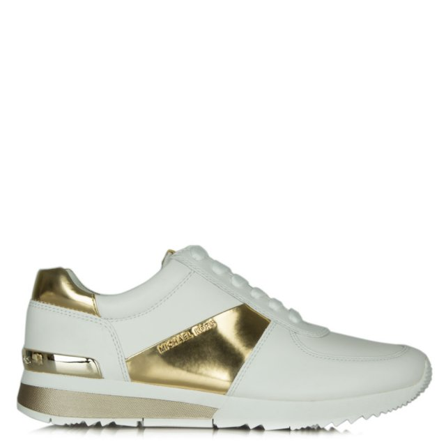 Allie White Leather Gold Trim Lace Up Trainer