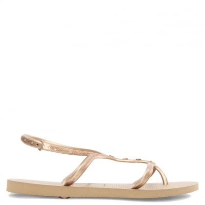 Allure Maxi Gold Metallic Multiple Strap Sandal