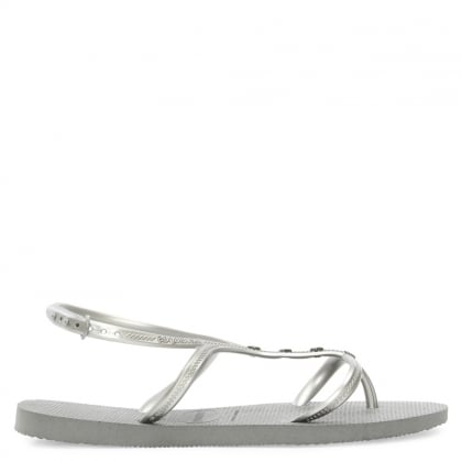 Allure Maxi Silver Metallic Multiple Strap Sandal